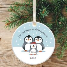 Penguin Tree Bauble Decoration, 1st Christmas as Grandparents - Cute Penguin Gift